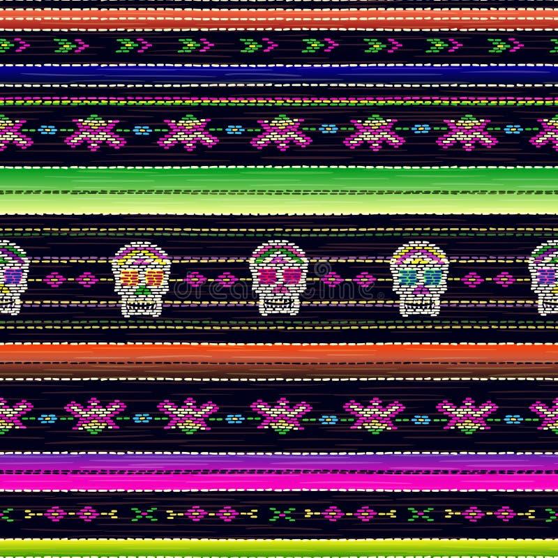 Bezszwowy etniczny meksykański tkanina wzór z kolorową lampasów i Catrina ` s czaszką ilustracja wektor