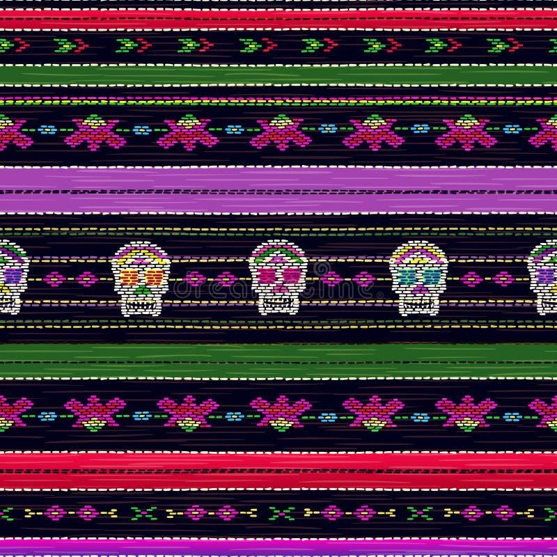 Bezszwowy etniczny meksykański tkanina wzór z kolorową lampasów i Catrina ` s czaszką royalty ilustracja