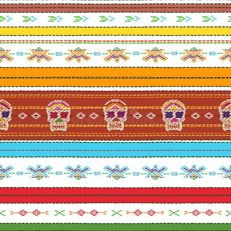 Bezszwowy etniczny meksykański tkanina wzór z kolorową lampasów i Catrina ` s czaszką na bielu ilustracja wektor