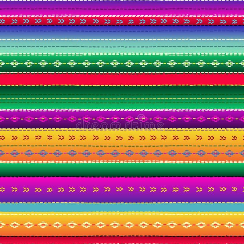 Bezszwowy etniczny meksykański tkanina wzór z kolorowymi lampasami ilustracja wektor
