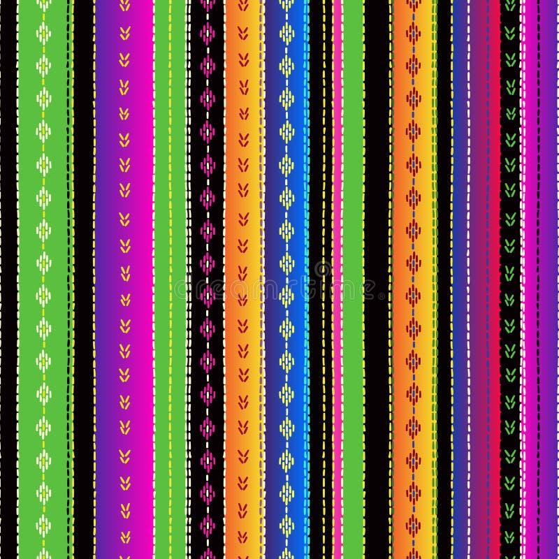 Bezszwowy etniczny meksykański tkanina wzór z kolorowymi lampasami royalty ilustracja