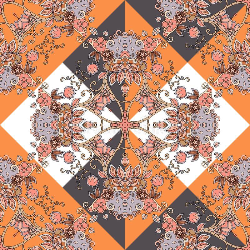 Bezszwowy etniczny wzór w pomarańcze, brąz, biel, czerń i siwieje kolory z sercami i kwiatami ilustracji