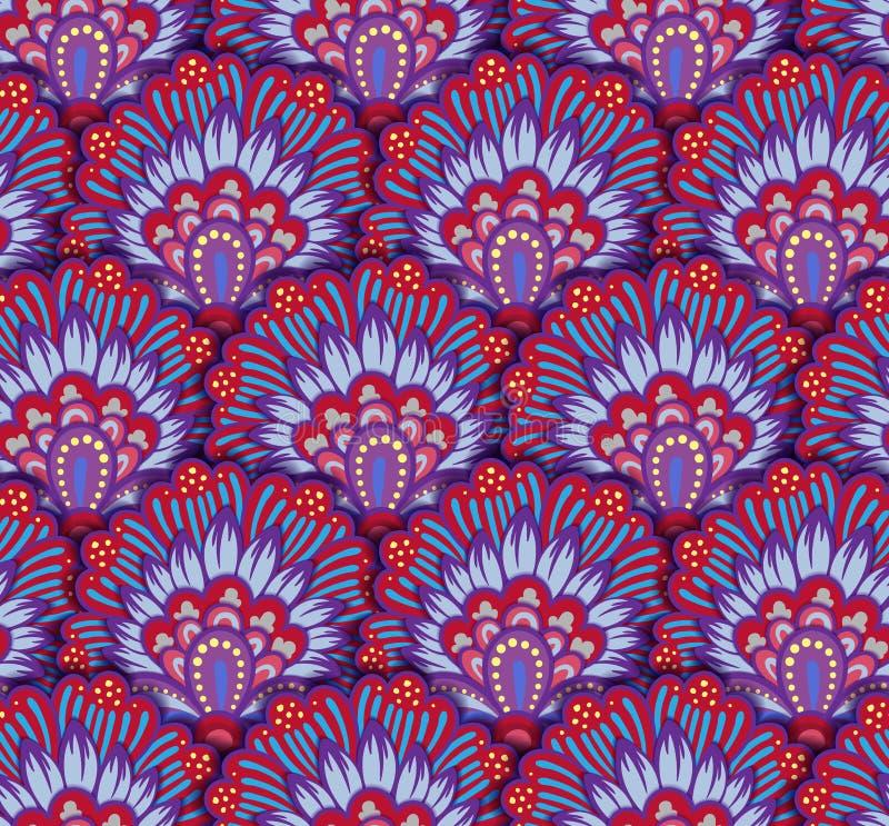 Bezszwowy etniczny wzór z kwiecistymi motywami Mandala stylizujący druku szablon dla tkaniny i papieru Boho modny projekt ilustracja wektor
