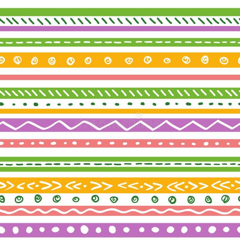 Bezszwowy etniczny wzór z miękkimi kolorów lampasami ilustracji