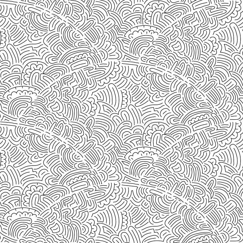 Bezszwowy falisty wzór w doodle stylu Czarny i biały druk dla ilustracja wektor