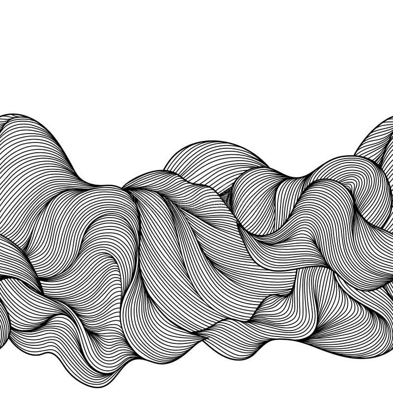 Bezszwowy falowy włosy linii wzór ilustracja wektor