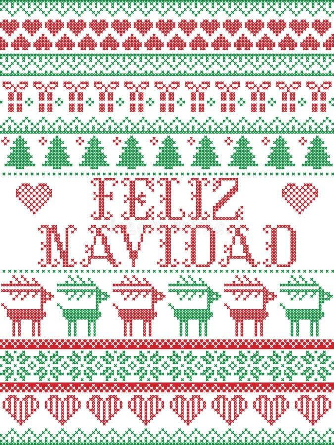 Bezszwowy Feliz Navidad skandynawa styl, inspirowany Norweskimi bożymi narodzeniami, świąteczny zima wzór w przecinającym ściegu  ilustracja wektor
