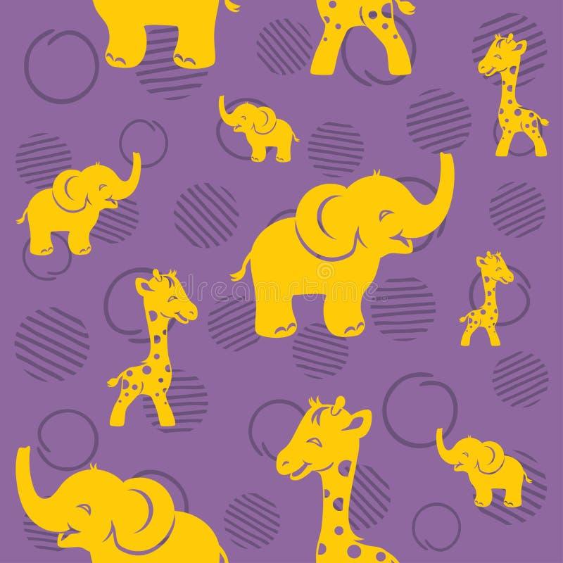 Bezszwowy fiołka wzór z żółtą śmieszną żyrafą i słoniem royalty ilustracja