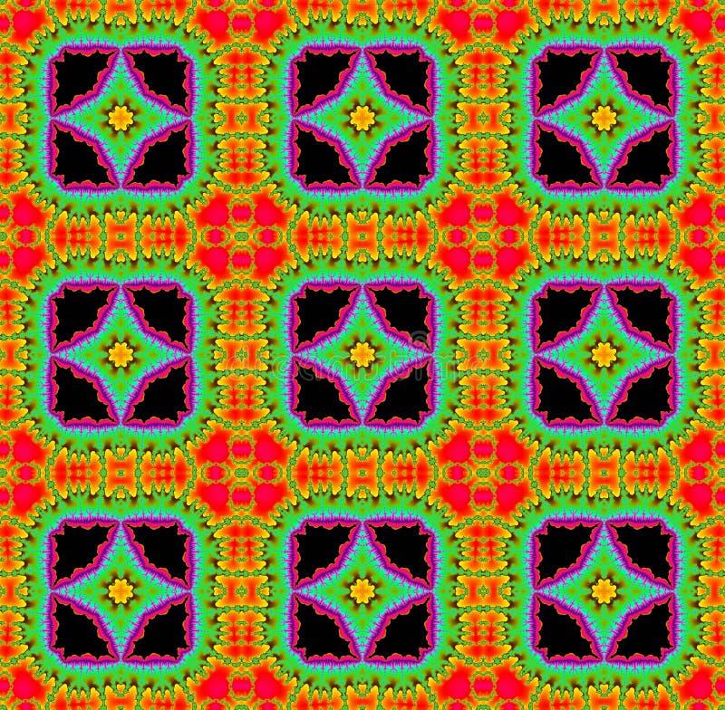 Bezszwowy fractal wzór z gwiazdy w jaskrawi kolory obraz royalty free