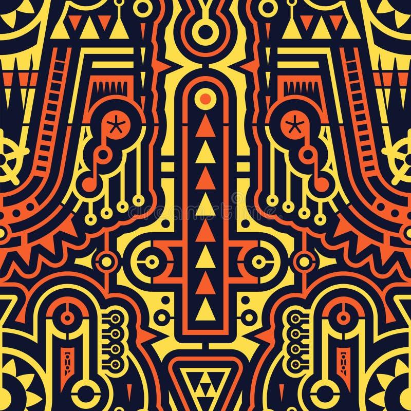 Bezszwowy Futurystyczny sztuka współczesna wzór w Techno stylu ilustracji