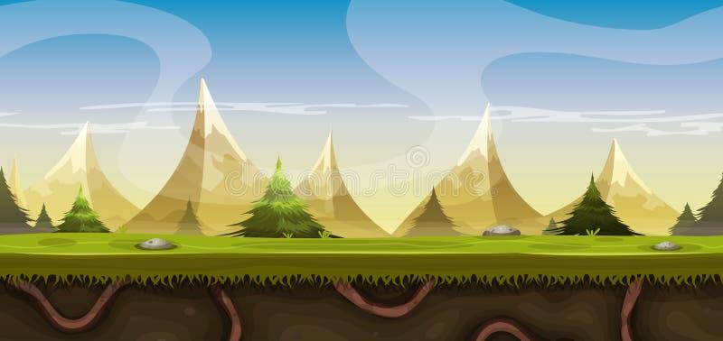 Bezszwowy góra krajobraz Dla Gemowego Ui ilustracja wektor