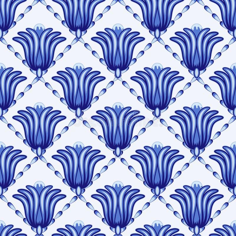 Bezszwowy geometrical wzór w stylowym Gzhel Kratownica z ampułą fantastyczny kwiat przestylizowanie royalty ilustracja