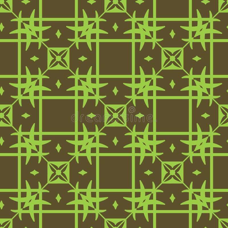 Bezszwowy geometryczny deseniowy jasnozielony wzór na ciemnozielonym tle ilustracji