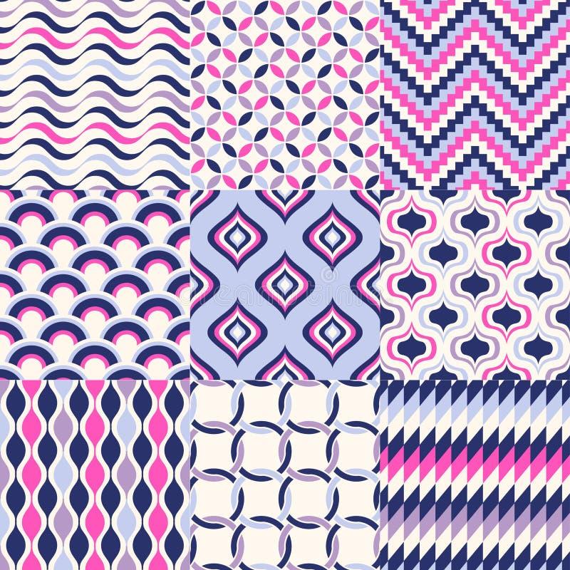 Bezszwowy Geometryczny Deseniowy Set royalty ilustracja