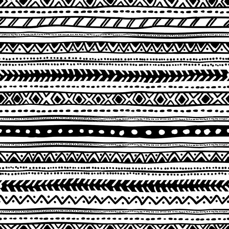 Bezszwowy geometryczny etniczny wzór czarny white ilustracja wektor