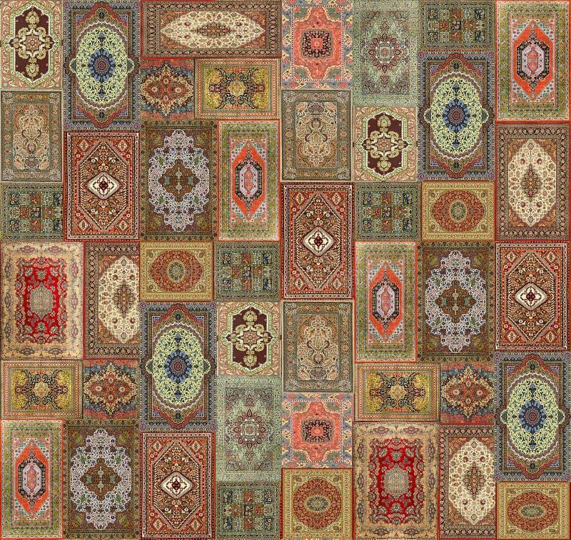 Bezszwowy geometryczny kolorowy dywanowy projekta wz?r royalty ilustracja