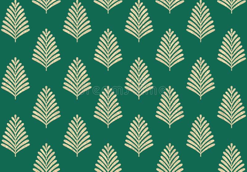 Bezszwowy geometryczny liścia wzór z zielonym tłem ilustracja wektor