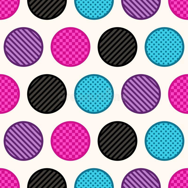 Bezszwowy geometryczny okrąg kropkuje tło royalty ilustracja