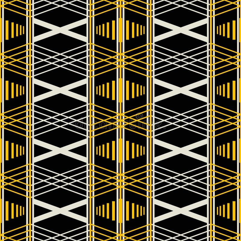Bezszwowy geometryczny retro wzór w kolorze żółtym, czerń, zakurzony biel c ilustracja wektor