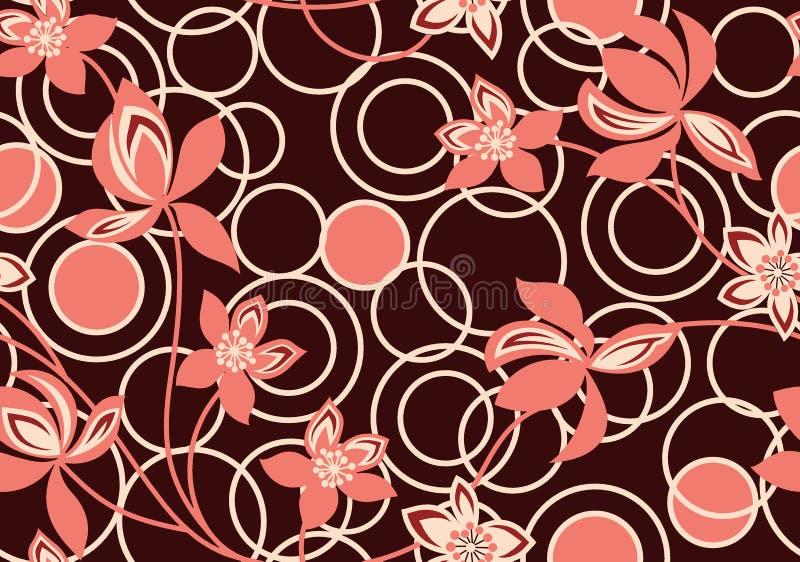 Bezszwowy geometryczny round tło z kwiatem ilustracja wektor