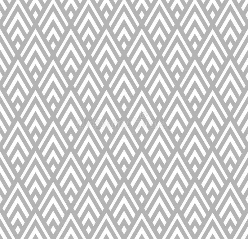Bezszwowy Geometryczny szarości i Białych Pasiastych Rhombuses Deseniowy tło ilustracja wektor