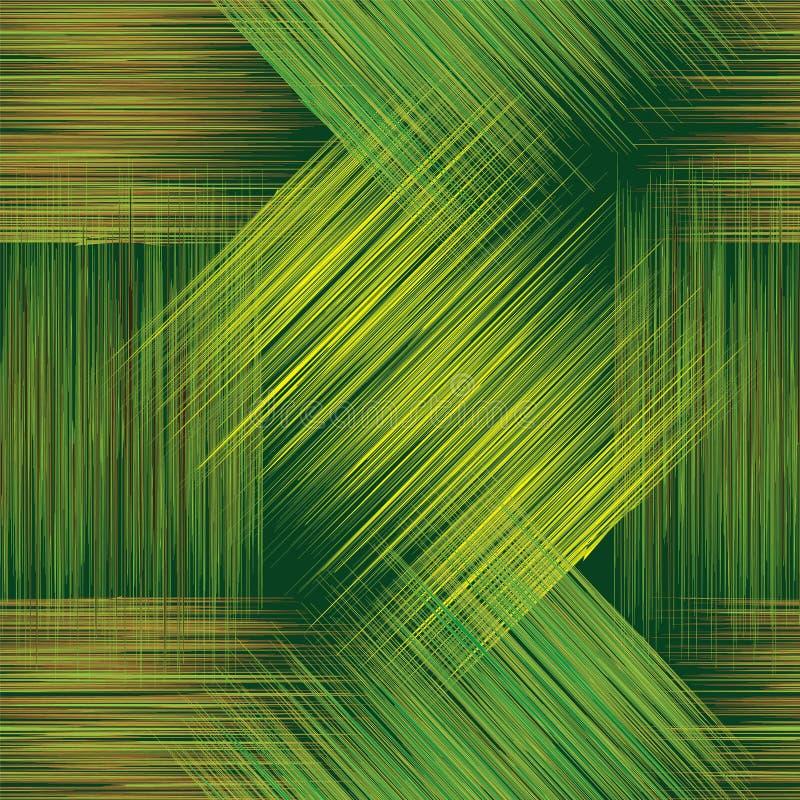 Bezszwowy geometryczny w kratkę wzór z grunge lampasami w zieleni, koloru żółtego i brązu kolorach, ilustracji