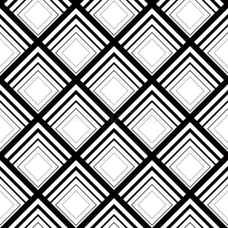 Bezszwowy geometryczny wektorowy tło, prosty czarny i biały str ilustracja wektor