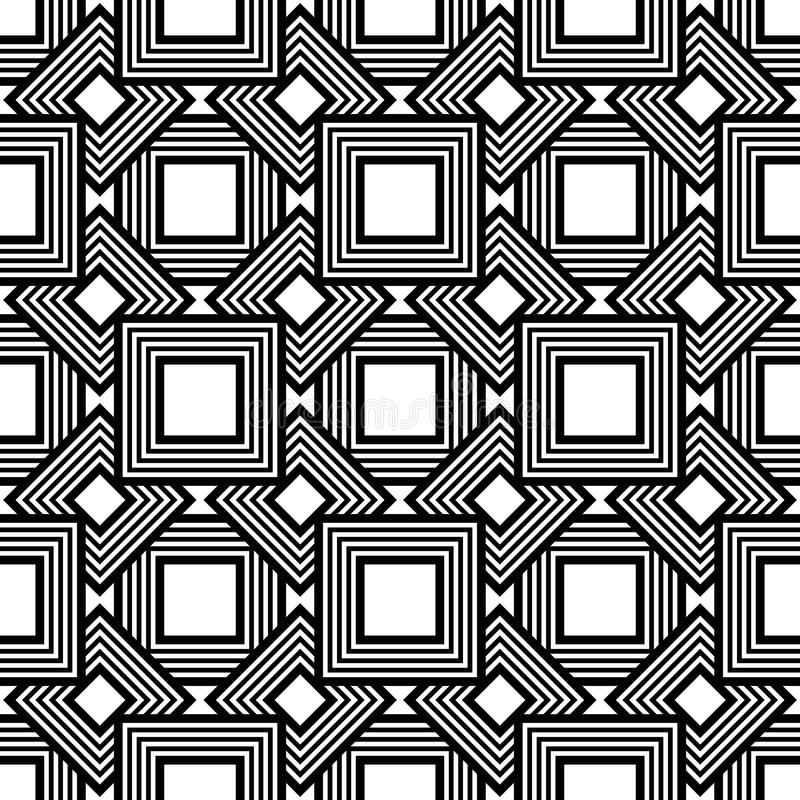 Bezszwowy geometryczny wzór, czarny i biały prosty wektorowy backgr ilustracji