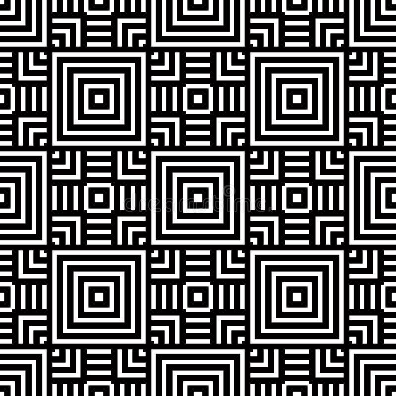 Bezszwowy geometryczny wzór, czarny i biały prosty wektorowy backgr ilustracja wektor