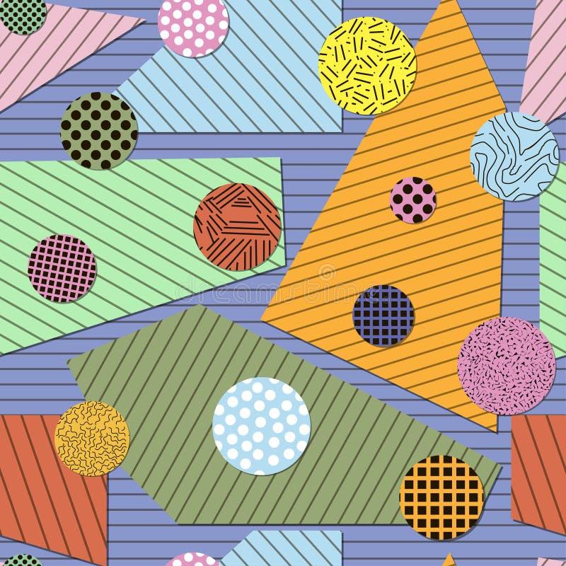 Bezszwowy geometryczny wzór papierowi wieloboki i okręgi ilustracja wektor