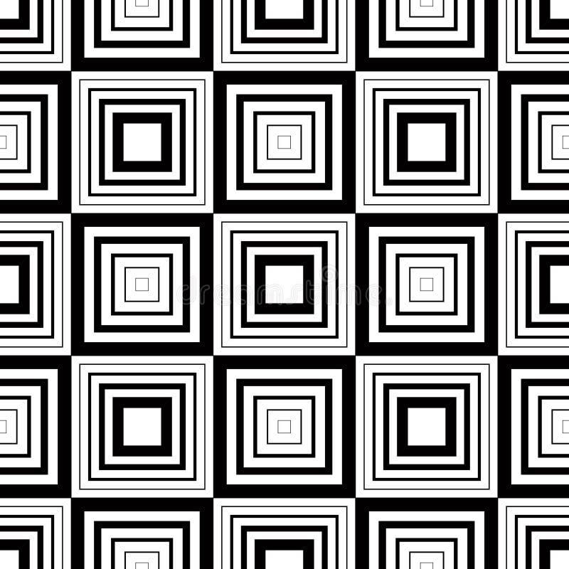 Bezszwowy geometryczny wzór, prosty wektorowy czarny i biały lampas ilustracji