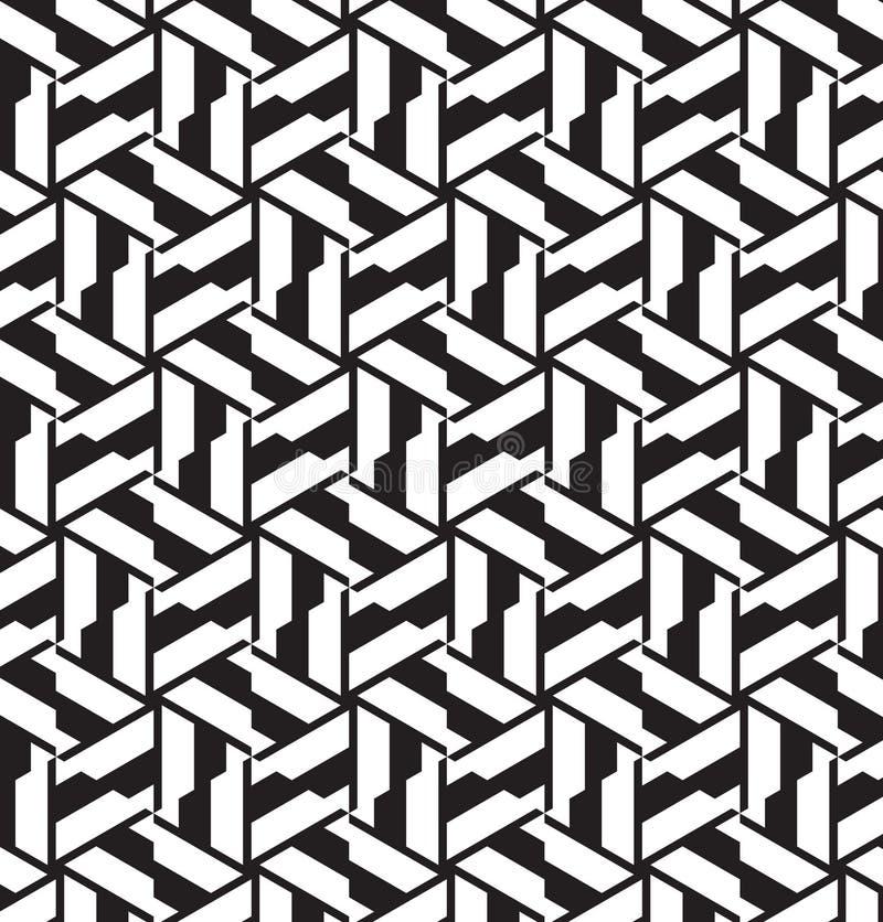 Bezszwowy geometryczny wzór w op sztuki projekcie. royalty ilustracja