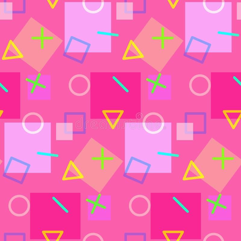 Bezszwowy geometryczny wzór w różowych kolorach ilustracja wektor