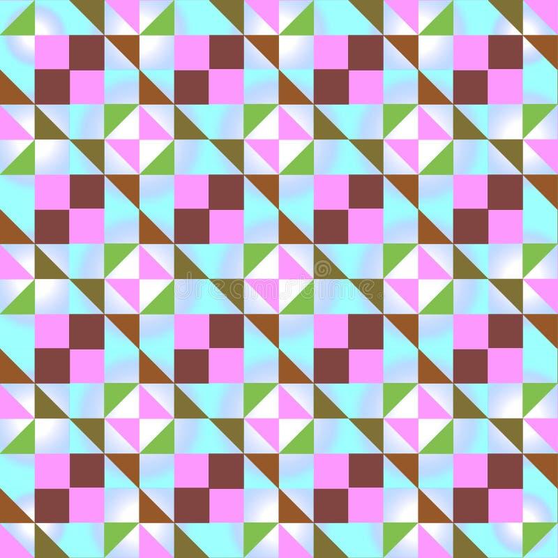 Bezszwowy geometryczny wzór z barwionymi trójbokami i kwadratami na bławym tle ilustracja wektor