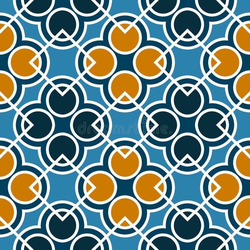 Bezszwowy geometryczny wzór z okręgami i kwadratami błękitni, pomarańczowi i biel cienie, ilustracja wektor