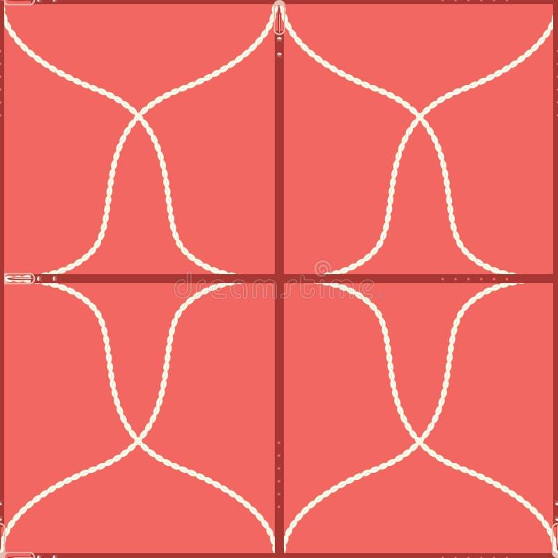 Bezszwowy geometryczny wzór z paskami, arkanami i klamrami, Powikłany wektorowy druk w koralu, czerwieni i śmietance, ilustracji
