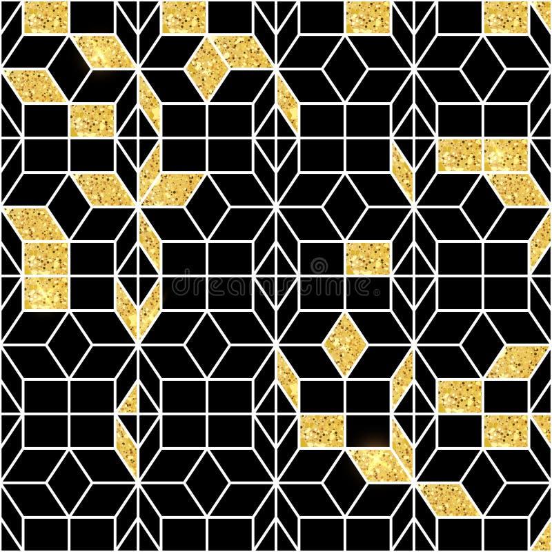 Bezszwowy geometryczny wzór z złocistym połyskiem Geometryczny prosty druk Wektorowa wielostrzałowa tekstura wzór islamskiego bez ilustracji