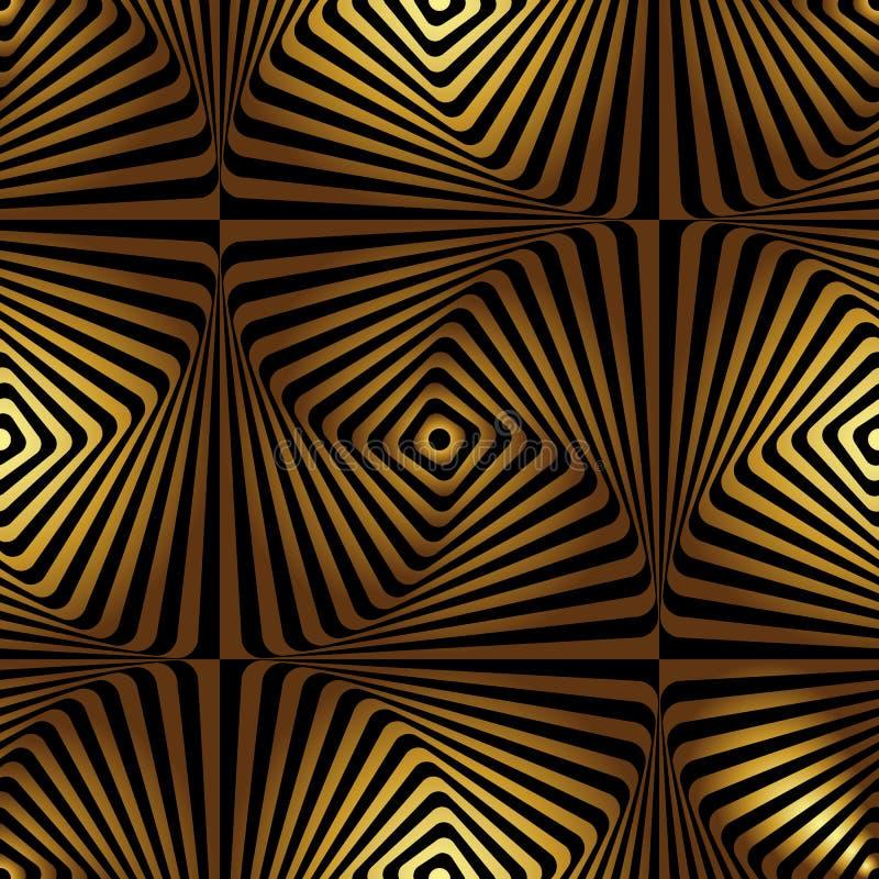 Bezszwowy geometryczny złoty art deco wzór Wektorowy mody tło w rocznika stylu ilustracja wektor