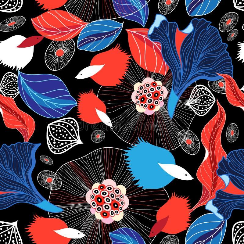 Bezszwowy graficzny abstrakta wzór z rybami ilustracji