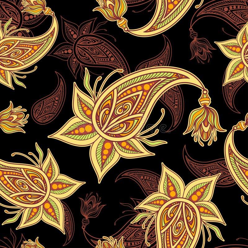 Bezszwowy granica wzór z Paisley beżowym oliwnym pomarańczowym brązem na czerni royalty ilustracja