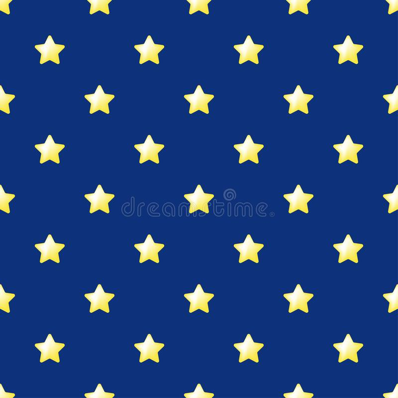 Bezszwowy gwiazda wzoru wektor Kolor żółty gwiazdy na błękitnym tle Płaski prosty styl dla jakaś sieci tkaniny lub projekta ilustracja wektor