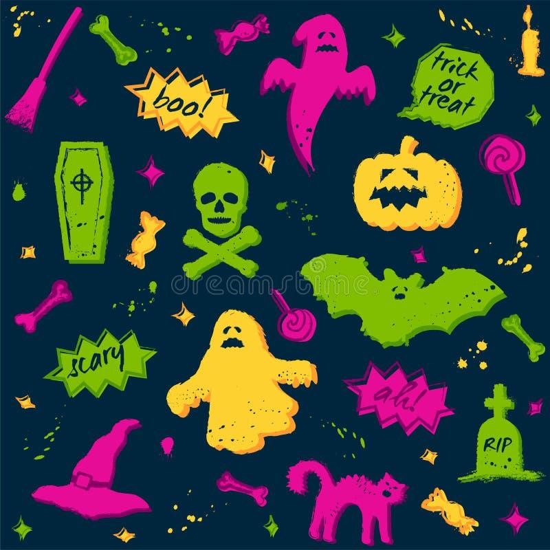 Bezszwowy Halloween wzór z kolorowymi elementami na zmroku royalty ilustracja