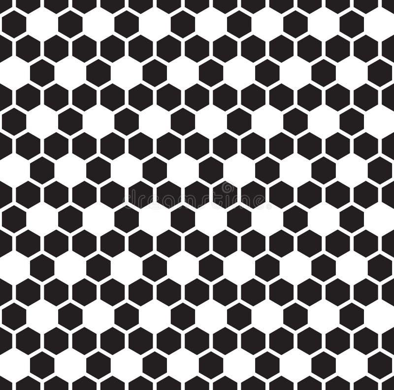 Bezszwowy heksagonalny honeycomb wzoru tekstury tło Czarny i biały sześciokąta wzór royalty ilustracja