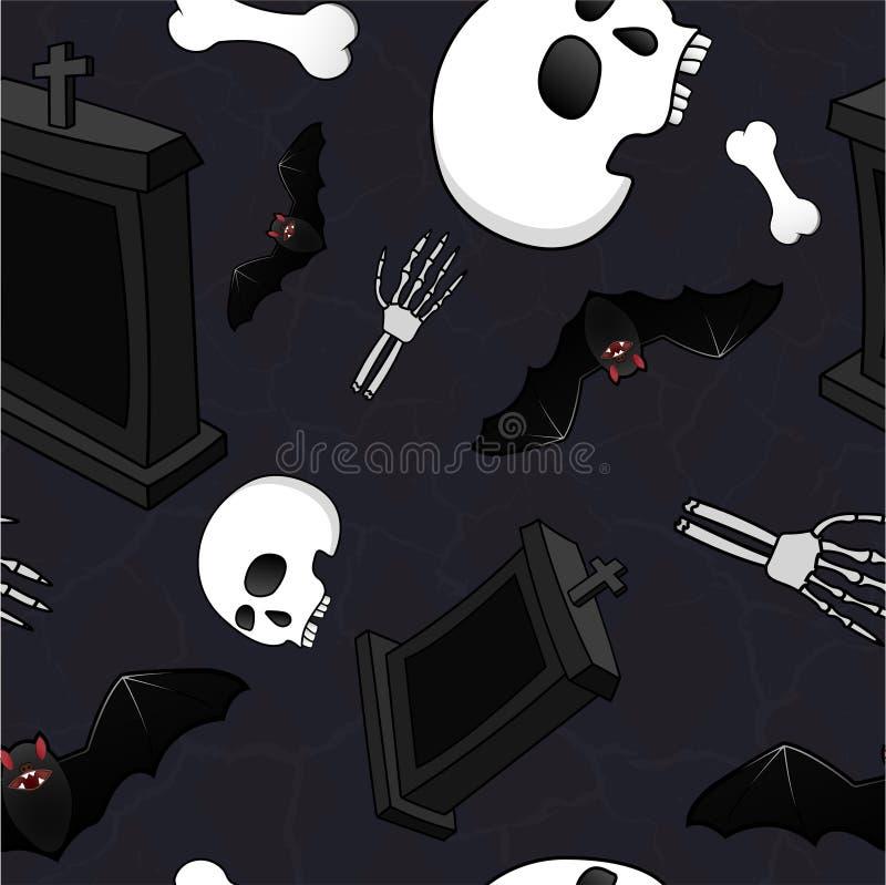 Bezszwowy horroru stylu wzór z kościami, czaszkami, nietoperzami i nagrobkami, ilustracja wektor
