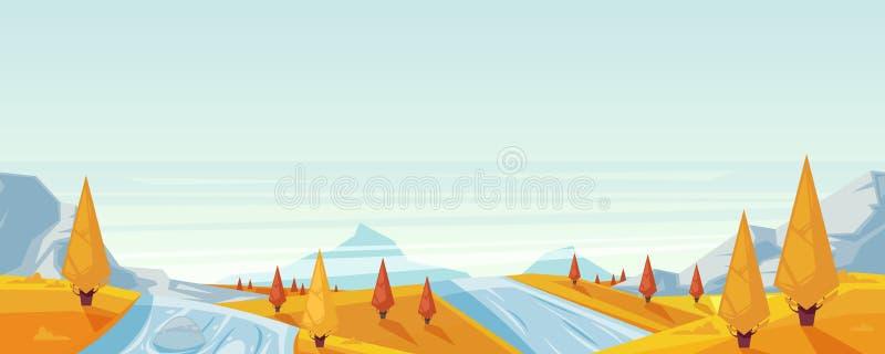 Bezszwowy horyzontalny jesień krajobrazu tło Wektorowa sezon jesienny ilustracja góry, wzgórza, jezioro ilustracji