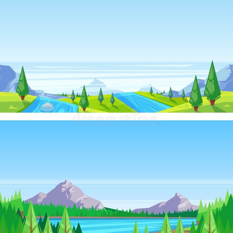 Bezszwowy horyzontalny krajobrazowy tło Wektorowa ilustracja góry, wzgórza, łąki, jezioro i rzeka, royalty ilustracja