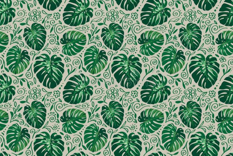 Bezszwowy horyzontalny monstera palmy liści wzór z doodle kreskowymi elementami wokoło ilustracji