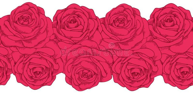 Bezszwowy horyzontalny ramowy element róże ilustracja wektor