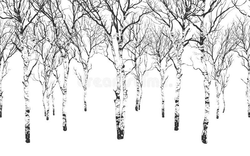 Bezszwowy horyzontalny tło z drzewami zdjęcie royalty free