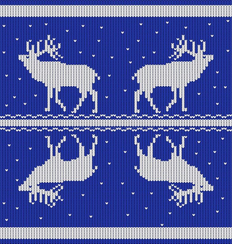 Bezszwowy horyzontalny wzór z deers i śnieg od białych trykotowych lampasów na błękitnym tle ilustracja wektor